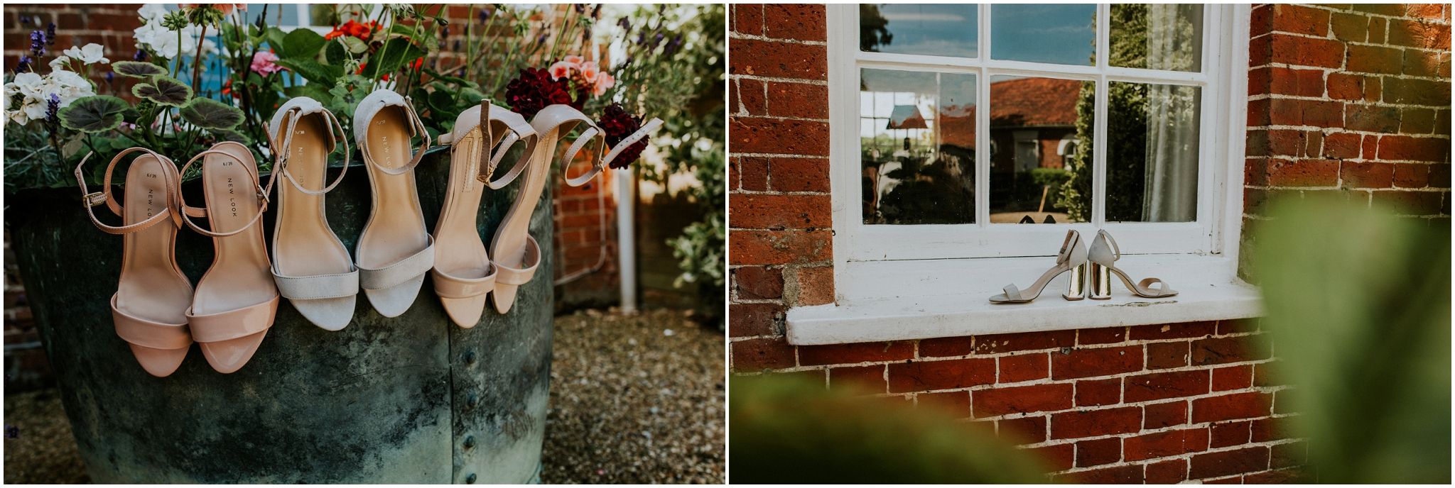 Bride and bridesmaids wedding shoes barn at woodlands norfolk