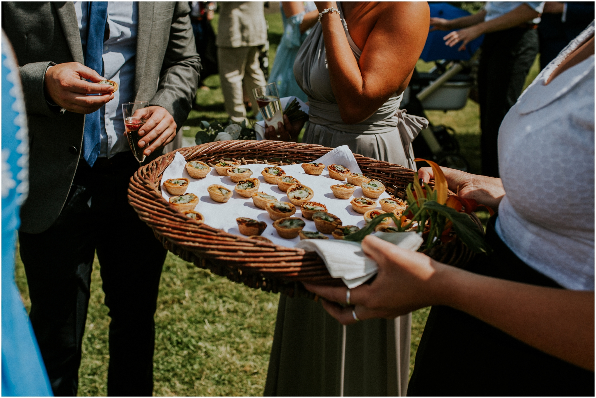canapes at outdoor wedding norfolk