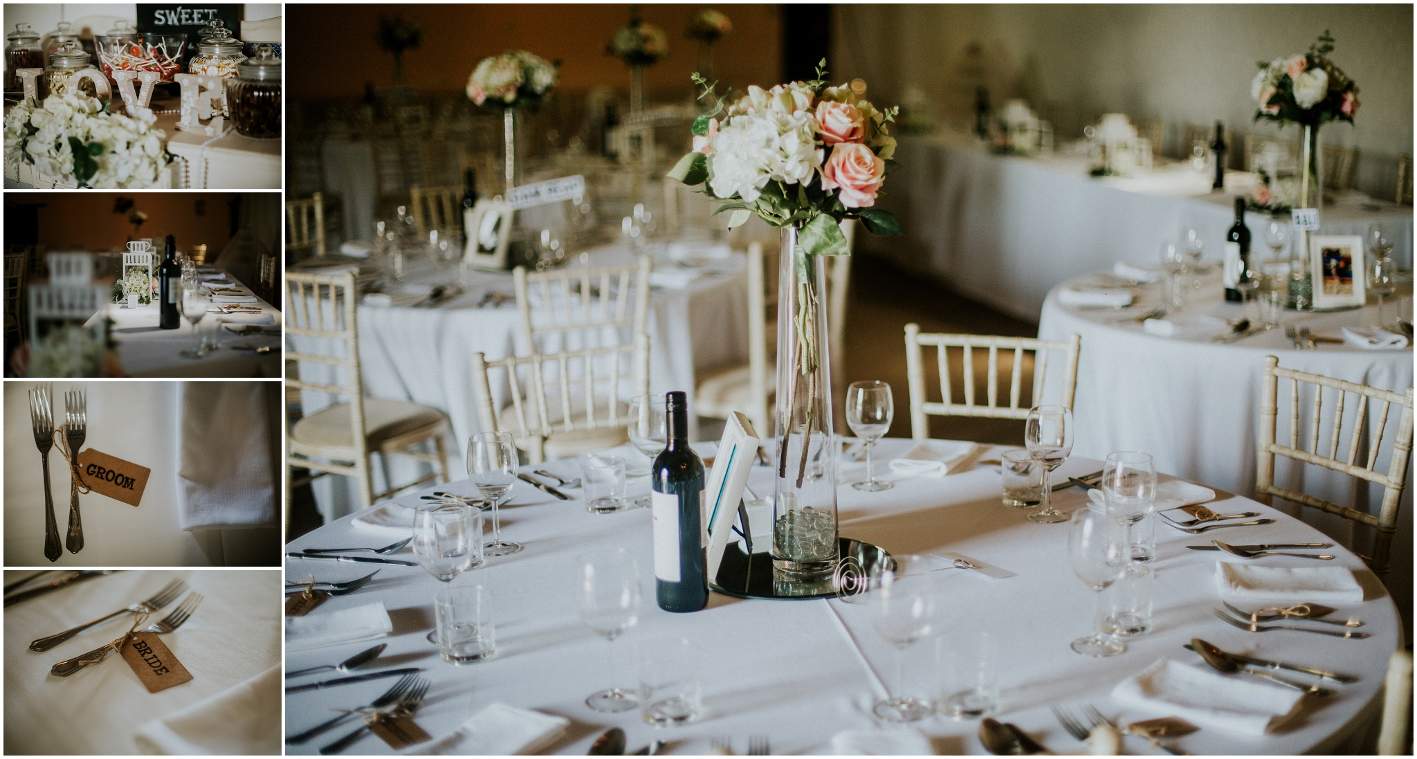 white wedding tables with floral arrangments in the centre