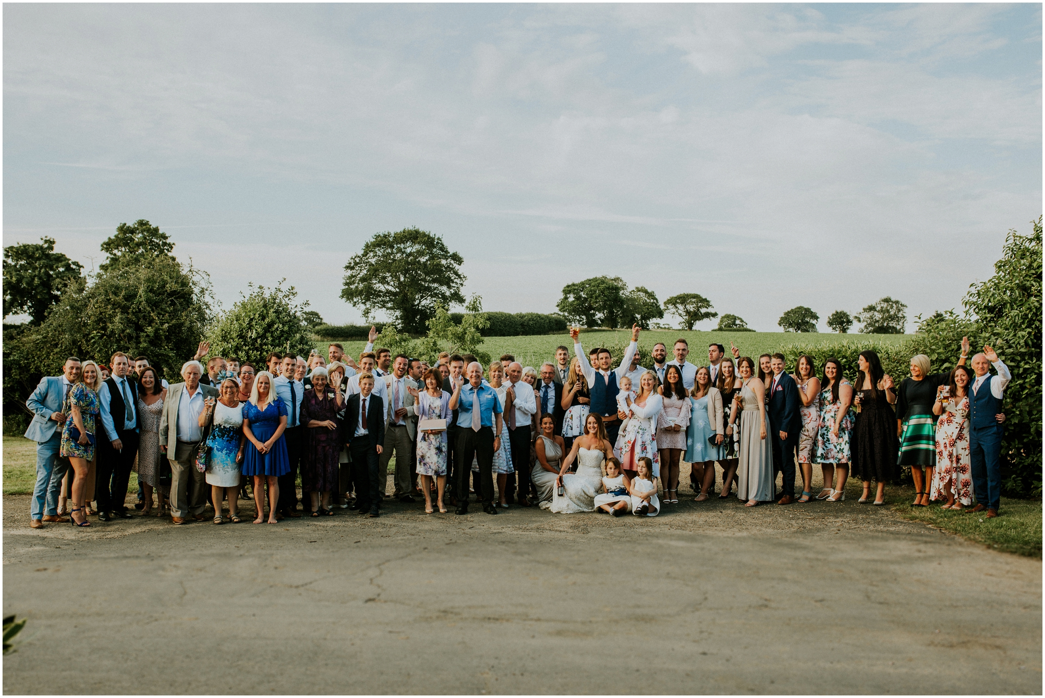 group photo of everyone at the wedding
