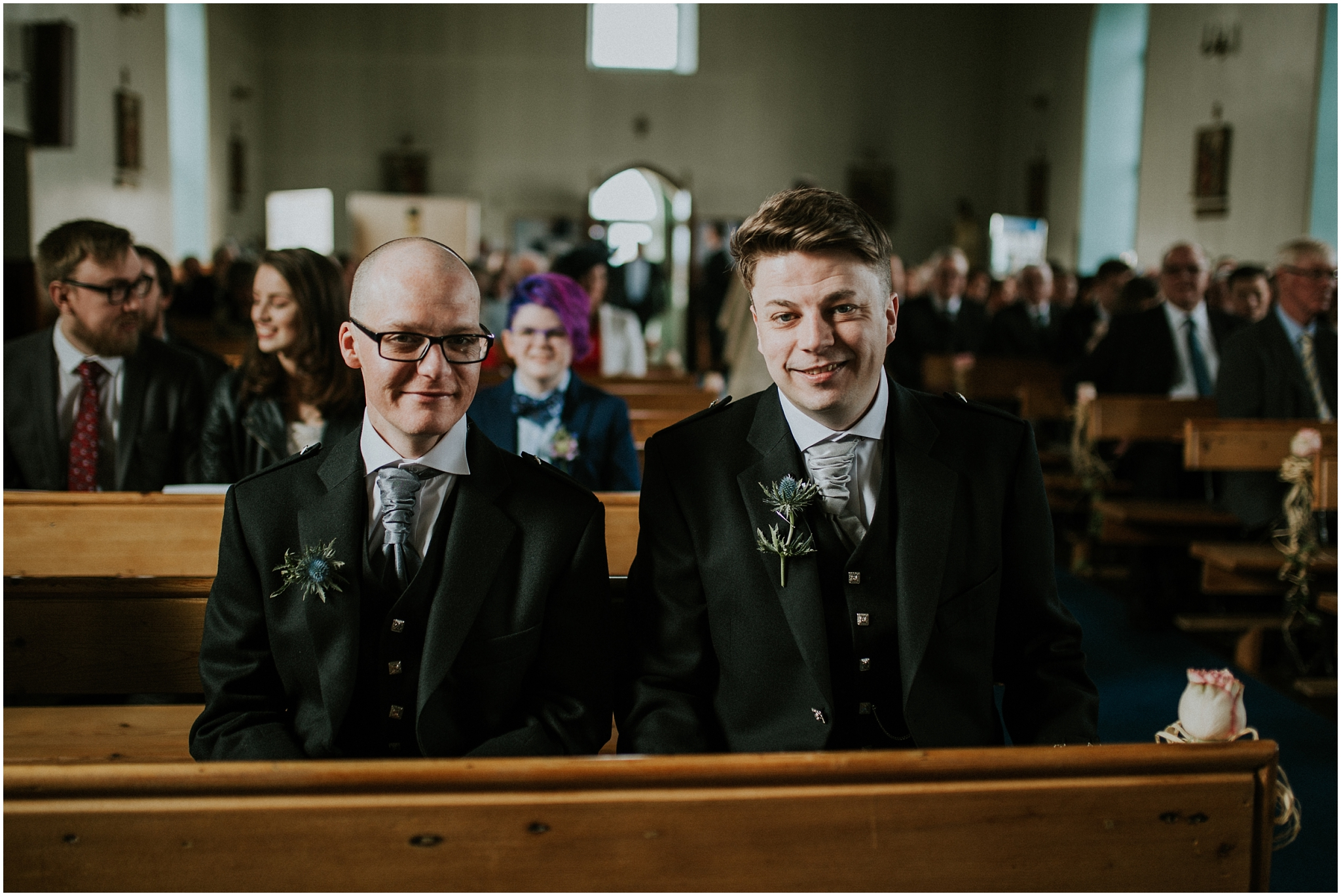 groom and best man sitting in church