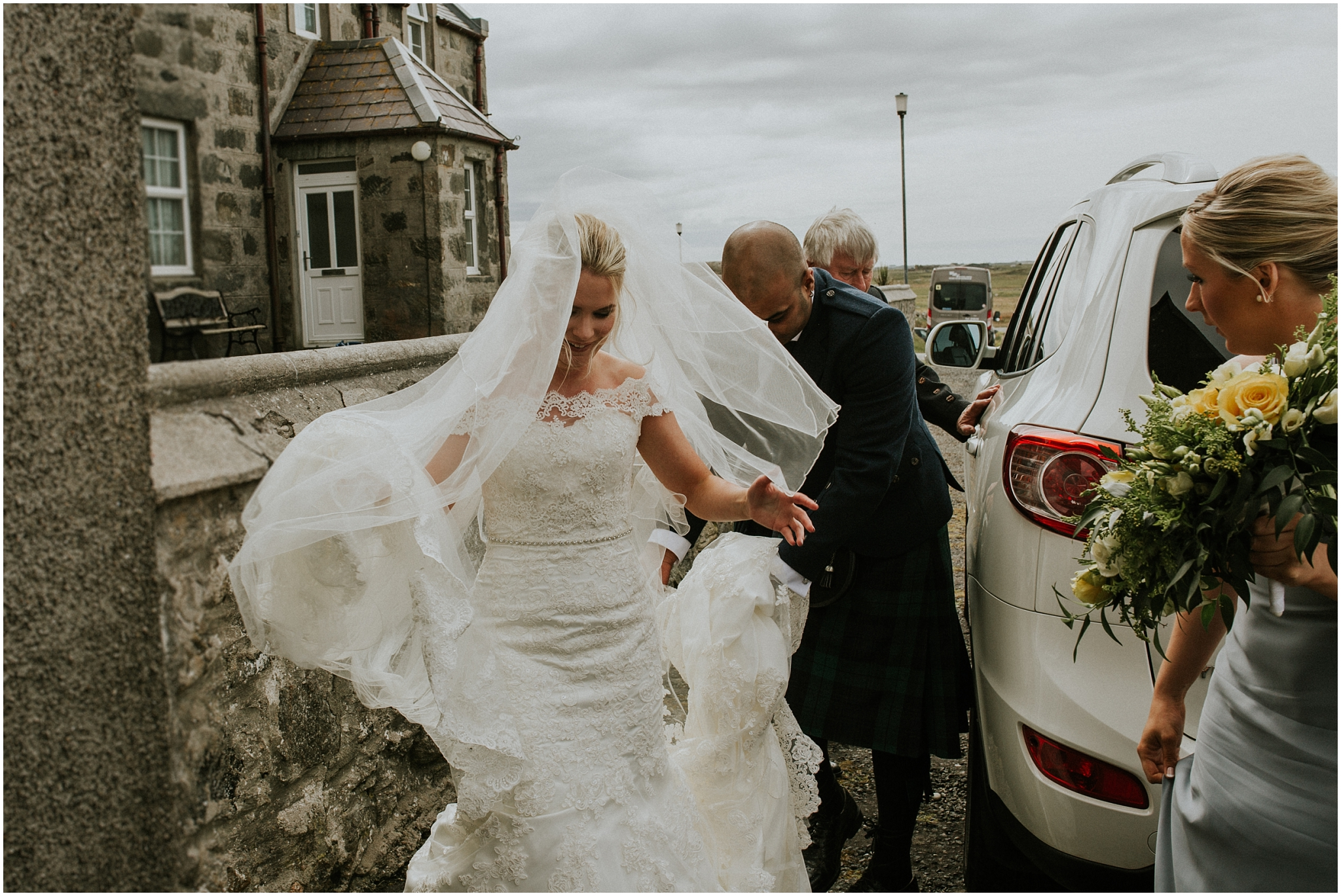 bride arriving at church benbecula wedding