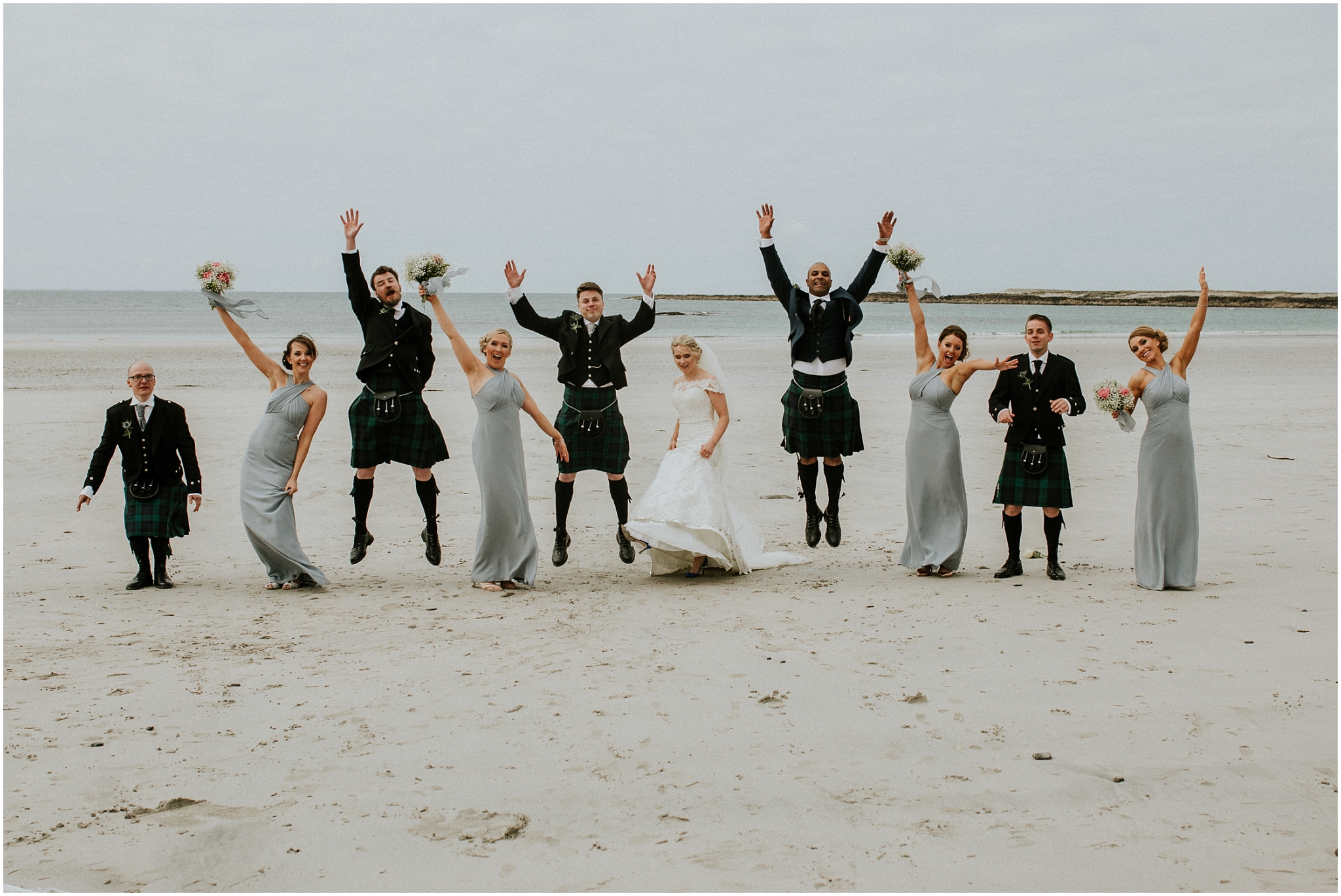 bridal party on the beach culla bay benbecula
