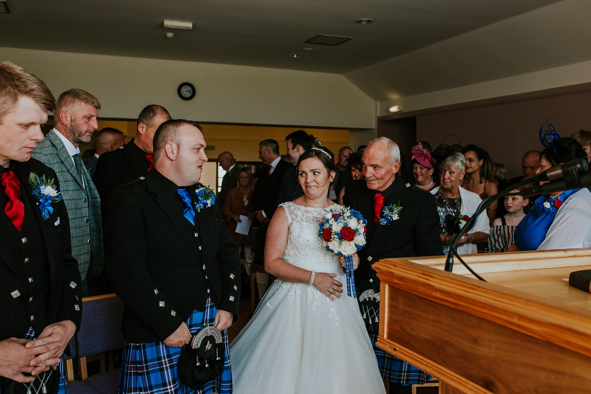 Bride and dad arriving at the top of the isle, Carnish Free Church