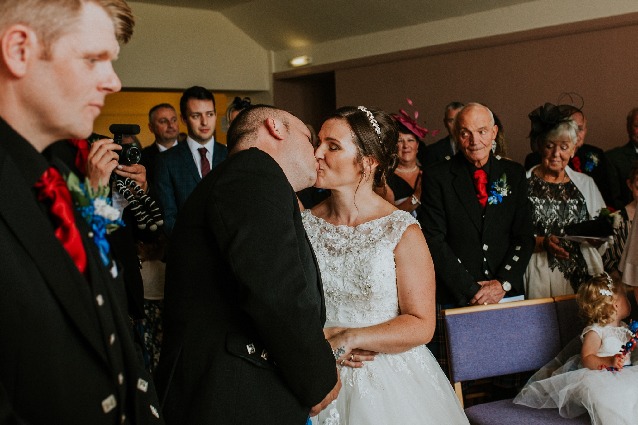 Bride and groom first kiss, Carnish Free Church, North Uist