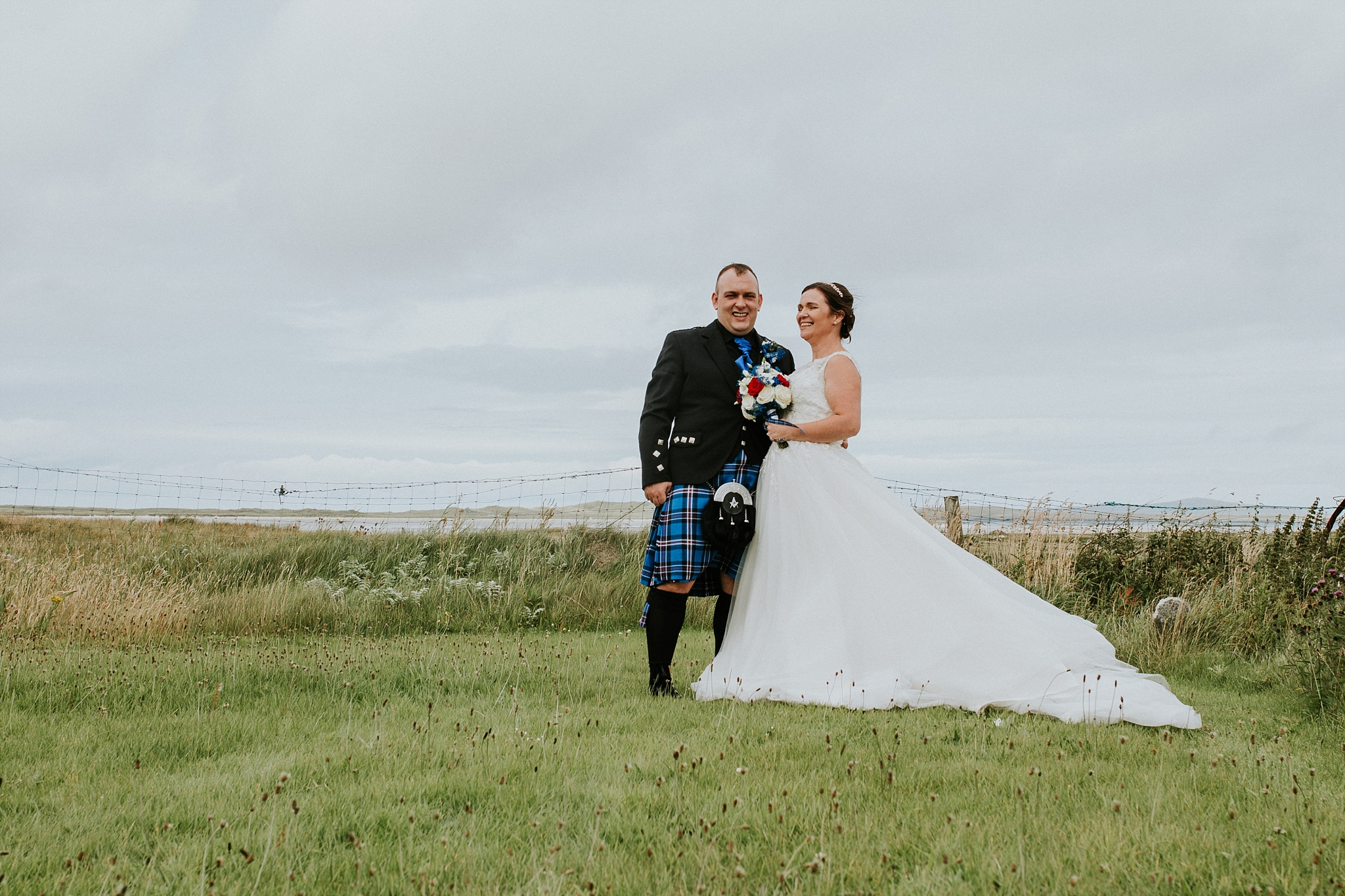 Bride and groom laughing, solas, north uist