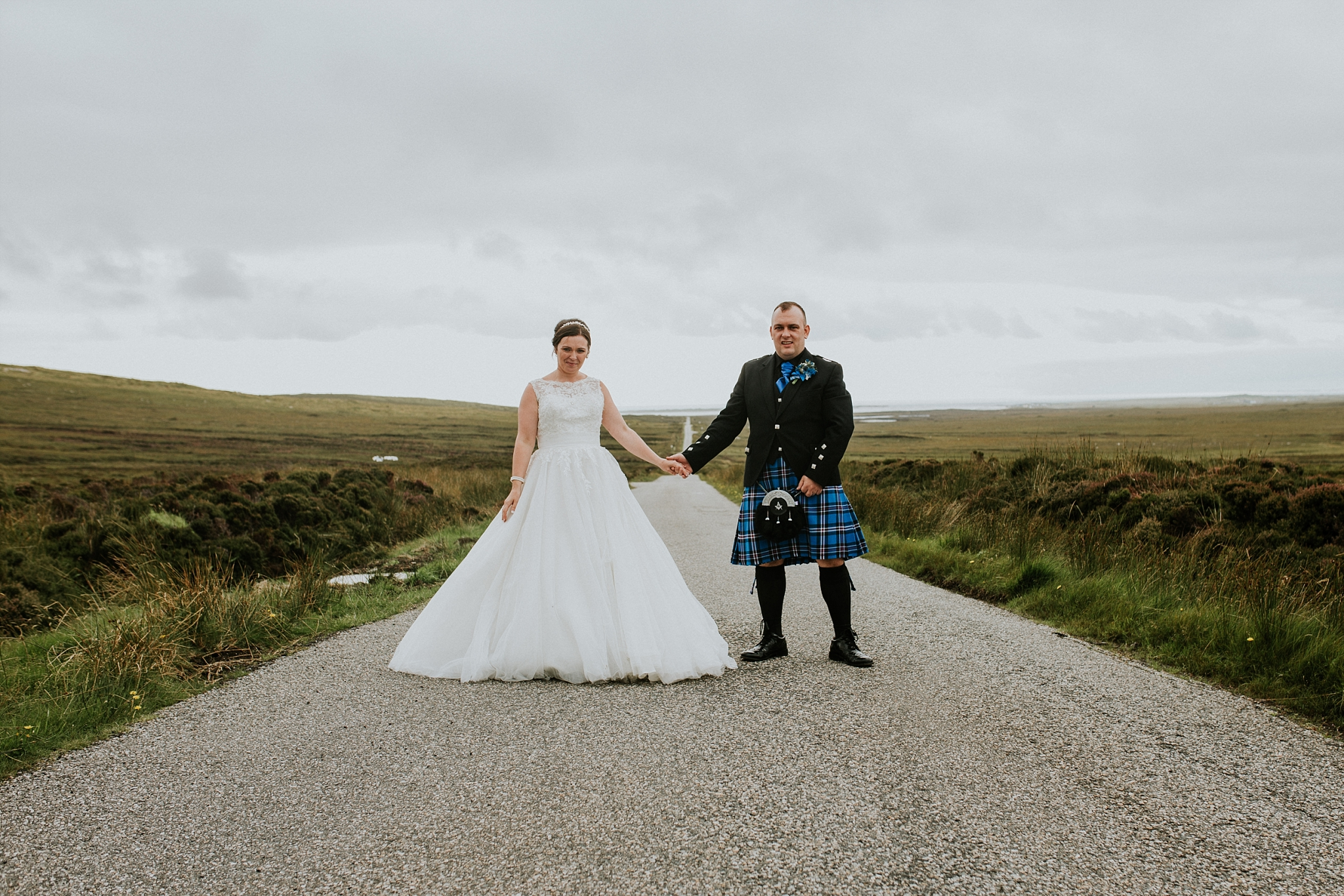 bride and groom holding hands, solas, north uist