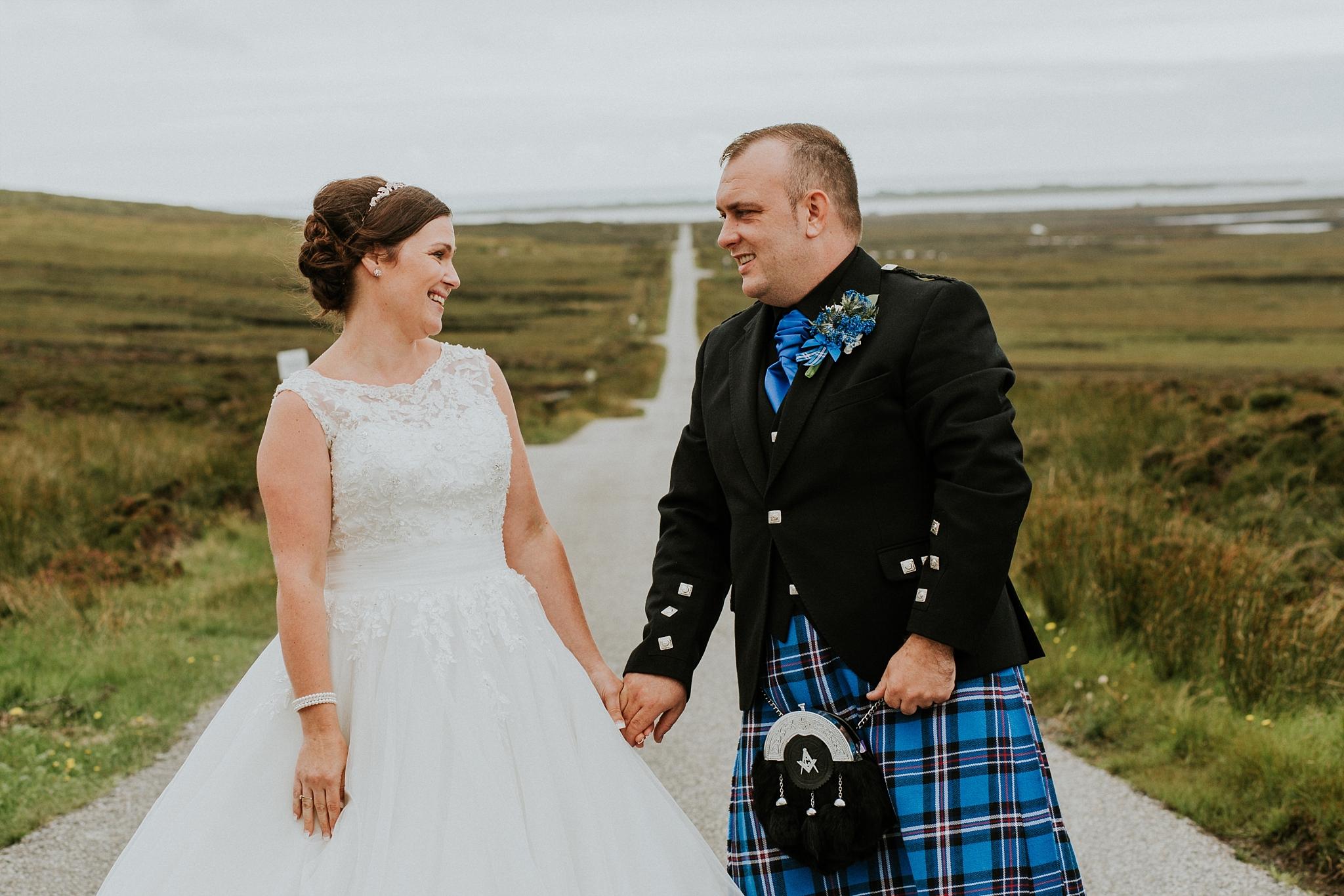 bride and groom looking at each other, solas, north uist