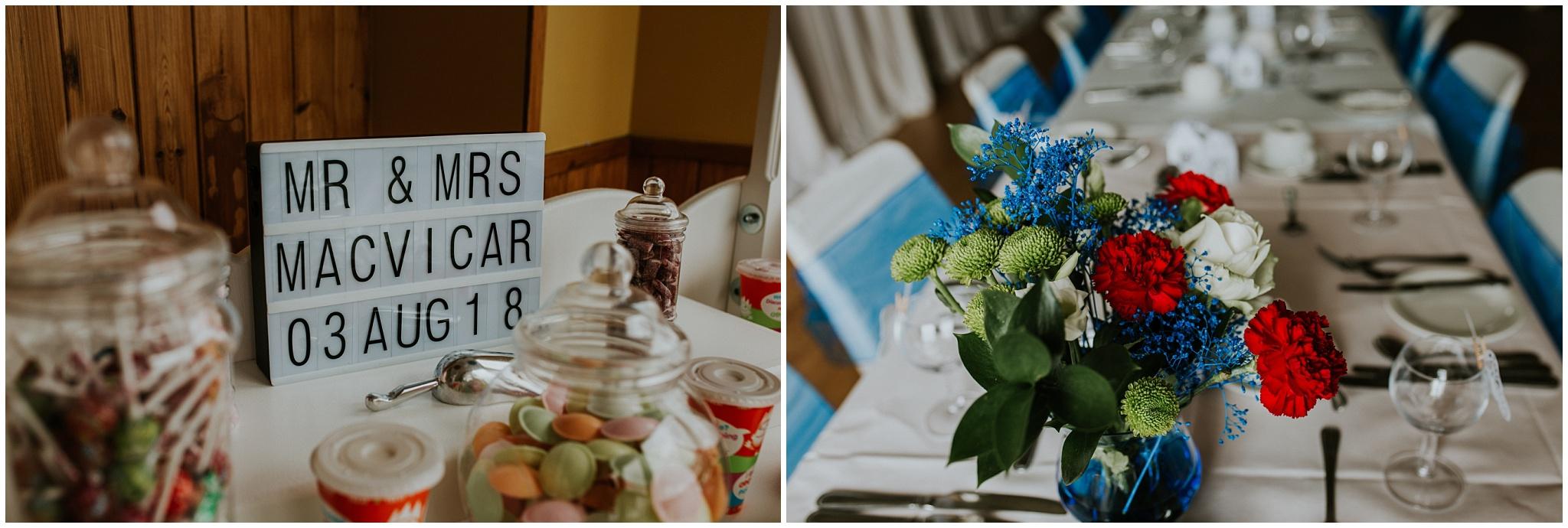 Carnish Hall Wedding, North Uist Wedding candy cart