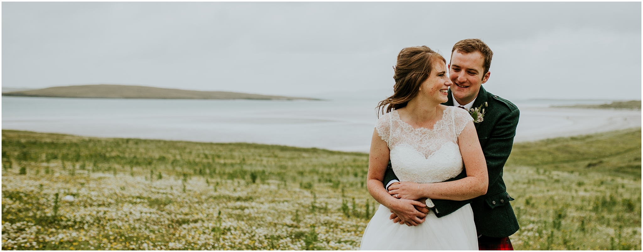 bride and groom hugging outer hebrides wedding